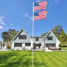 20 ft Sectional Aluminum flagpole US American USA 2x Flag Pole Gold Ball Kit