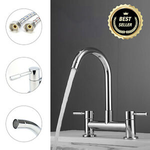 Modern Dual Lever Chrome Kitchen Sink Mixer Tap 2 Hole Deck Mounted Tap Faucet
