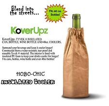 Insulated Wine Bottle Cooler Hobo Bottle Coolie Brown Bag Fits 40oz Beer Koozie