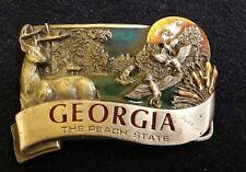 Georgia Peach State Belt Buckle Vintage 1984 Wildlife Bergamot Brass Enamel