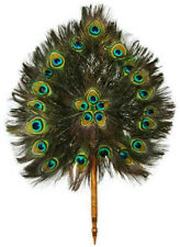 """Unique thai handmade fan natural peacock feathers home decor collectible 16x24"""""""