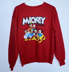 Disney Mickey Mouse Minnie Donald Pluto Sweatshirt Red Small Size 3 - 5 Juniors