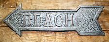 Cast Iron BEACH ARROW Plaque Sign Nautical Wall Pool Home Decor BOAT HOUSE GREEN