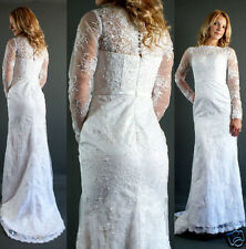 Ivory Lace Victorian High Neck Mermaid High Low Wedding Gown Dress Sheer XS-S