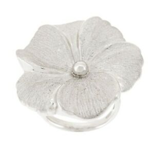QVC Sterling Bold Textured Flower Design Ring Size 6 SOLD OUT