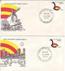 150th Anniversary of W.A. (2no. AP FDC's) 1979 (CV$5.20)