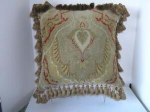 """Antique ART Nouveau Velveteen Screen Print Design Fringe Pillow 18"""" x 18"""""""