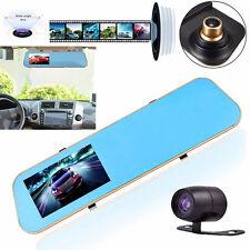 "HD 4.3"" 1080P Dual Len Video Recorder Dash Cam Rearview Mirror Car Camera DVR #E"