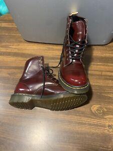 Dr Martens Womens UK 7 US 9 Boots 8 Hole Eyelet Chrome Oxblood Booties Docs Shoe