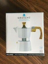 GROSCHE Milano Stovetop Espresso Maker Moka Pot 3 Cup - 5 oz, White - Cuban Coff