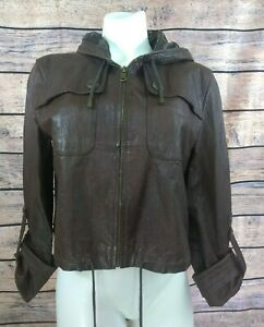 My Tribe Short Leather Hooded Jacket Womens Size Large Brown Cuffed Sleeves