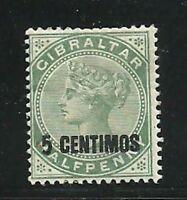 Album Treasures Gibraltar Scott # 22  5c on 1/2p  Victoria  Mint  Hinged