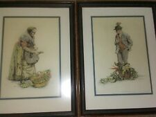 Paul Geissler Pictures Old Man Old Woman with Vegetables Framed 2 Pictures