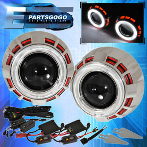 """For Chevy Dual Halo Dual Demon Eye Shrouds 2.5"""" Projector Retrofit Red White"""