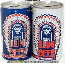 1983+84 ILLINOIS ILLINI FOOTBALL SIOUX CHIEF ILLINIWEK SPORTS SCHEDULE BEER CANS