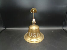 Vintage Usn United States Brass Bell Nautical Maritime Ship Antique (sa)