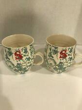 """New listing 2 Anthropologie Homegrown Teal White Mug Cup Red Monogram Initial Letter """"S�"""