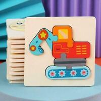 Children's Toys Wooden 3d Puzzle Cartoon Animal Intelligence Educational L1H5