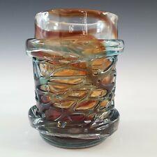 More details for signed mdina maltese red & blue strapped glass vase