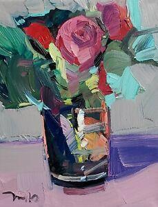 JOSE TRUJILLO Oil Painting IMPRESSIONISM CONTEMPORARY FLOWERS STILL LIFE NR