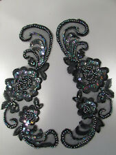 Black Iris Beaded Sequin Embroidered  Applique x 2 Sewing/Costume/Crafts/Bridal