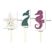 24x Starfish Hippocampus Mermaid Tail Cupcake Toppers Cake Party Decoration Dres