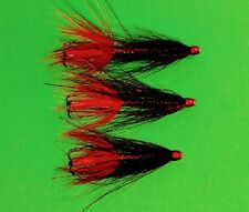 Salmon Sewin/ sea trout BLACK & RED TUBE FLIES  X 3 .