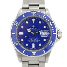 Men's Rolex Submariner 16610 40mm Stainless Steel Watch Blue Face w Diamonds