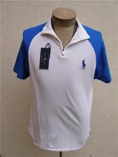 Polo Ralph Lauren Men's Shirt L Luxury Pima Golf Zip Jersey Pony Logo White Navy