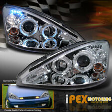 For Ford 2000-2004 Focus Dual Halo Projector LED Headlights Chrome Headlamps