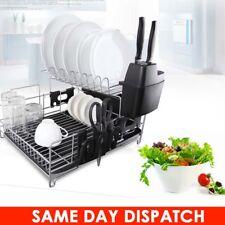 2 Tier Dish Drainer Rack Storage Drip Tray Sink Drying Draining Plate Bowl UK