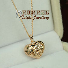 18CT Rose Gold GP Rose Heart charm pendant Necklace Made With SWAROVSKI Crystals