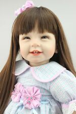 "22"" Lifelike Bambole Reborn Long Hair Girl Dolls Silicone Vinyl Handmade gift it"