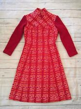 VTG 60s 70s Covergirl of Miami Thick Long Sleeve Sheath Go Go Mod Mini Dress S