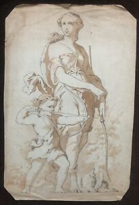 Dessin Ancien Aquarelle Allégorie Chasse Femme Diane Peinture Mythologie XIXème