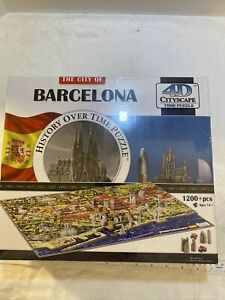 4D Cityscape Jigsaw Puzzle - Barcelona City Map History Over Time Puzzle NEW