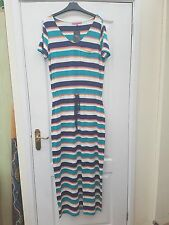 NEXT TEAL GREEN NAVY PINK WHITE MULTI STRIPE SHORT SLEEVE SCOOPNECK MAXI DRESS
