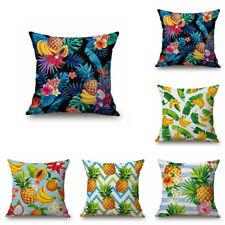Decorative Square Burlap Fruit Design Throw Pillow Case Cover Cushion pineapple