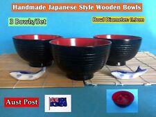 New Handmade Japanese Style Wooden Rice Bowls Dinner Set - 3 pcs/set (B158)