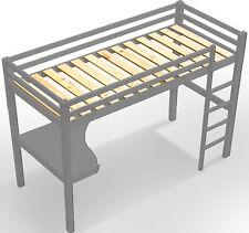 Kinderbett Hochbett mit Tisch Leiter Hochbett Spielbett Kiefer Massiv Grau Bett