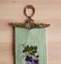 Vintage Embroidered Floral Tapestry Wall Hanger With Brass Ends