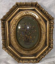 VINTAGE GOLD GILT CONVEX BUBBLE GLASS PICTURE FRAME DRIED FLOWERS RESIN ITALY