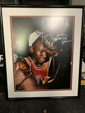 Michael Jordan UDA 16x20 Championship Trophy Autograph Framed Upper Deck Picture