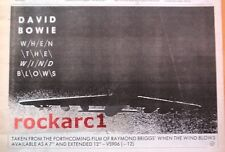 DAVID BOWIE When The Wind Blows 1986 UK  Press ADVERT 12x8""