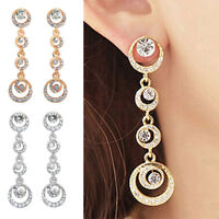 Women Excellent Bridal Circle Silver Gold Plated Dangle Earrings  Chic Jewelry