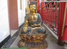 "38""Tibet Buddhism Fane Bronze gild Cloisonne Sakyamuni Amitabha Buddha Statue"