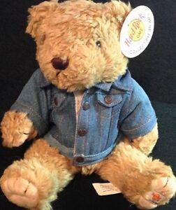 Hard Rock Cafe ORLANDO 1990s Honey TEDDY BEAR Plush w/Denim Jacket GUITAR Logo