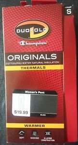 NEW Duofold, Champion, Women's Thermal Pant, Black, Small, Size 4 to 6, Original