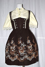 Rose Dirndl Midi Vintage Balkonett-Dirndl bestickt Gr 42-44 + Bluse + Schürze