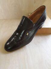 YVES SAINT LAURENT vintage 70s brown wingtip logo dress shoe loafers 9.5M